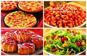 CiCi's 4 Food Groups: Pizza, Maggot Pasta, Cinnabon, Green Stuff.
